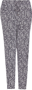 Tapered Print Trousers, Navy - style: peg leg; pocket detail: pockets at the sides; waist: mid/regular rise; secondary colour: white; predominant colour: mid grey; occasions: casual, holiday; length: ankle length; fibres: viscose/rayon - 100%; texture group: cotton feel fabrics; trends: statement prints; fit: tapered; pattern type: fabric; pattern size: small &amp; busy; pattern: patterned/print