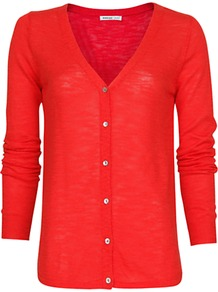 Devoré Knit Cardigan, Coral - neckline: v-neck; pattern: plain; bust detail: buttons at bust (in middle at breastbone)/zip detail at bust; predominant colour: coral; occasions: casual, work; length: standard; style: standard; fibres: cotton - mix; fit: standard fit; sleeve length: long sleeve; sleeve style: standard; texture group: knits/crochet; pattern type: knitted - other