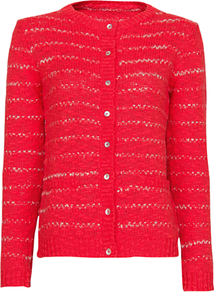 Striped Chunky Knit Cardigan, Coral - neckline: round neck; pattern: horizontal stripes; predominant colour: coral; occasions: casual; length: standard; style: standard; fibres: acrylic - 100%; fit: standard fit; sleeve length: long sleeve; sleeve style: standard; texture group: knits/crochet; pattern type: knitted - other