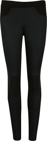 Contrast Panel Jodhpurs, Black - pattern: plain; style: leggings; waist: mid/regular rise; predominant colour: black; occasions: casual, work; length: ankle length; fibres: viscose/rayon - stretch; texture group: cotton feel fabrics; fit: skinny/tight leg; pattern type: fabric