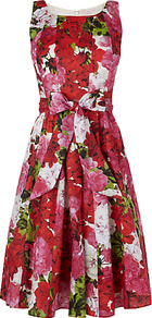Geranium Print Dress, Multi - length: below the knee; sleeve style: standard vest straps/shoulder straps; waist detail: belted waist/tie at waist/drawstring; fit: fitted at waist &amp; bust; style: fit &amp; flare; neckline: scoop; fibres: polyester/polyamide - 100%; occasions: occasion; hip detail: soft pleats at hip/draping at hip/flared at hip; predominant colour: multicoloured; sleeve length: sleeveless; trends: high impact florals; pattern type: fabric; pattern size: big &amp; busy; pattern: florals; texture group: other - light to midweight