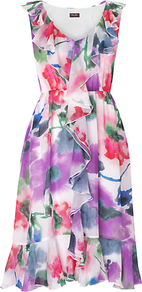 Vida Floral Dress, Multi - style: tea dress; length: below the knee; neckline: v-neck; fit: fitted at waist; sleeve style: sleeveless; waist detail: elasticated waist; bust detail: ruching/gathering/draping/layers/pintuck pleats at bust; fibres: silk - 100%; occasions: occasion; predominant colour: multicoloured; sleeve length: sleeveless; texture group: silky - light; trends: high impact florals, sculptural frills; hip detail: ruffles/tiers/tie detail at hip; pattern type: fabric; pattern size: big & busy; pattern: florals