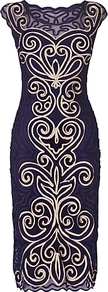 Isabel Dress, Violet/Antique - style: shift; length: below the knee; neckline: round neck; sleeve style: capped; fit: tailored/fitted; secondary colour: ivory; predominant colour: navy; occasions: evening, occasion; sleeve length: sleeveless; texture group: sheer fabrics/chiffon/organza etc.; pattern type: fabric; pattern size: big & busy; pattern: patterned/print; embellishment: applique; fibres: nylon - stretch
