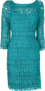 Naomi Tapework Dress, Jade - style: shift; fit: tailored/fitted; pattern: plain; predominant colour: emerald green; occasions: evening, occasion; length: just above the knee; fibres: viscose/rayon - 100%; neckline: crew; sleeve length: 3/4 length; sleeve style: standard; texture group: knits/crochet; trends: glamorous day shifts; pattern type: fabric