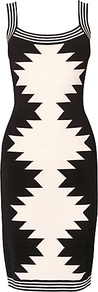 Arizona Bandage Dress, Black - fit: tight; sleeve style: sleeveless; style: bodycon; secondary colour: ivory; occasions: evening, occasion; length: on the knee; neckline: scoop; fibres: viscose/rayon - stretch; sleeve length: sleeveless; predominant colour: monochrome; pattern type: fabric; pattern size: standard; pattern: patterned/print; texture group: other - stretchy