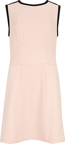 Contrast Sleeveless Dress, Pale Pink - style: shift; length: mid thigh; sleeve style: sleeveless; shoulder detail: contrast pattern/fabric at shoulder; predominant colour: blush; secondary colour: black; occasions: casual, work, occasion; fit: soft a-line; fibres: polyester/polyamide - stretch; neckline: crew; back detail: embellishment at back; sleeve length: sleeveless; pattern type: fabric; pattern size: small & light; pattern: colourblock; texture group: jersey - stretchy/drapey