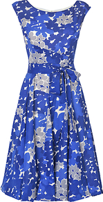 Carianne Dress, Blue/White - neckline: round neck; sleeve style: sleeveless; style: full skirt; waist detail: belted waist/tie at waist/drawstring; predominant colour: royal blue; secondary colour: light grey; occasions: evening, occasion; length: on the knee; fit: fitted at waist &amp; bust; fibres: cotton - 100%; sleeve length: sleeveless; texture group: silky - light; pattern type: fabric; pattern size: big &amp; busy; pattern: patterned/print