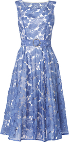 Dorothy Dress, Cornflower - neckline: round neck; sleeve style: sleeveless; style: full skirt; waist detail: belted waist/tie at waist/drawstring; secondary colour: white; predominant colour: denim; occasions: evening, occasion; length: on the knee; fit: fitted at waist & bust; fibres: nylon - 100%; sleeve length: sleeveless; pattern type: fabric; pattern size: standard; pattern: patterned/print; texture group: other - light to midweight