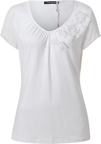 Ruched V Neck T Shirt - neckline: v-neck; pattern: plain; bust detail: added detail/embellishment at bust; length: below the bottom; style: t-shirt; predominant colour: white; occasions: casual, work; fibres: viscose/rayon - stretch; fit: body skimming; sleeve length: short sleeve; sleeve style: standard; pattern type: fabric; texture group: jersey - stretchy/drapey; embellishment: applique