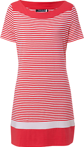 Stripe Tunic - neckline: round neck; pattern: horizontal stripes; style: tunic; secondary colour: white; predominant colour: coral; occasions: casual; fibres: viscose/rayon - stretch; fit: body skimming; length: mid thigh; sleeve length: short sleeve; sleeve style: standard; pattern type: fabric; pattern size: small & busy; texture group: jersey - stretchy/drapey