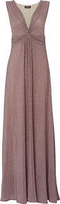 Tara Twist Maxi Dress, Mole - style: empire line; neckline: low v-neck; fit: empire; pattern: plain; sleeve style: sleeveless; predominant colour: taupe; occasions: evening; length: floor length; fibres: polyester/polyamide - mix; hip detail: soft pleats at hip/draping at hip/flared at hip; sleeve length: sleeveless; texture group: sheer fabrics/chiffon/organza etc.; pattern type: fabric