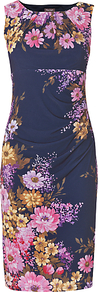 Vintage Floral, Violet - style: shift; length: below the knee; neckline: round neck; fit: tailored/fitted; sleeve style: sleeveless; waist detail: twist front waist detail/nipped in at waist on one side/soft pleats/draping/ruching/gathering waist detail; secondary colour: pink; predominant colour: navy; occasions: evening, work, occasion; fibres: polyester/polyamide - stretch; sleeve length: sleeveless; trends: high impact florals, glamorous day shifts; pattern type: fabric; pattern size: big &amp; busy; pattern: florals; texture group: jersey - stretchy/drapey