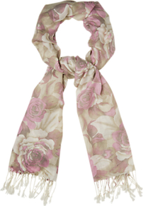 Two Tone Scarf, Multi - predominant colour: blush; occasions: casual, occasion; type of pattern: standard; style: regular; size: standard; material: fabric; embellishment: tassels; pattern: florals