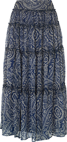 Paisley Maxi Skirt, Ink - fit: body skimming; pattern: paisley; waist: mid/regular rise; secondary colour: white; predominant colour: navy; occasions: casual, holiday; length: floor length; style: maxi skirt; fibres: polyester/polyamide - 100%; texture group: sheer fabrics/chiffon/organza etc.; hip detail: ruffles/tiers/tie detail at hip; pattern type: fabric; pattern size: big & busy