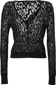 Cobweb Effect Cardigan, Black - neckline: plunge; predominant colour: black; occasions: casual, evening; length: standard; style: standard; fit: slim fit; sleeve length: long sleeve; sleeve style: standard; texture group: knits/crochet; pattern type: knitted - fine stitch; pattern size: standard; pattern: patterned/print; fibres: viscose/rayon - mix