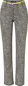 Animal Print Trousers, Black/Beige - length: standard; style: peg leg; waist detail: belted waist/tie at waist/drawstring; waist: mid/regular rise; secondary colour: ivory; predominant colour: black; occasions: casual, evening; fibres: cotton - stretch; fit: tapered; pattern type: fabric; pattern size: small &amp; busy; pattern: animal print; texture group: woven light midweight