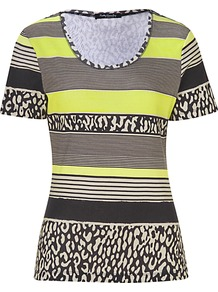 Print T Shirt, Black/Beige - neckline: round neck; pattern: horizontal stripes; style: t-shirt; secondary colour: lime; predominant colour: black; occasions: casual, holiday; length: standard; fibres: cotton - 100%; fit: body skimming; sleeve length: short sleeve; sleeve style: standard; pattern type: fabric; pattern size: standard; texture group: jersey - stretchy/drapey