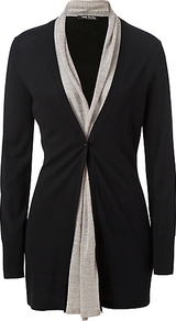 Waterfall Front Cardigan. Black/Beige - pattern: plain; neckline: shawl; hip detail: fitted at hip; shoulder detail: contrast pattern/fabric at shoulder; bust detail: ruching/gathering/draping/layers/pintuck pleats at bust; predominant colour: black; occasions: casual, evening, work; style: standard; fibres: viscose/rayon - stretch; fit: standard fit; length: mid thigh; waist detail: fitted waist; sleeve length: long sleeve; sleeve style: standard; texture group: knits/crochet; pattern type: knitted - other; pattern size: standard