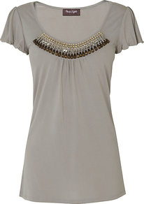 Alicia Embellished Top, Grey - sleeve style: angel/waterfall; pattern: plain; bust detail: added detail/embellishment at bust; length: below the bottom; predominant colour: mid grey; occasions: casual, evening, work; style: top; neckline: scoop; fibres: viscose/rayon - 100%; fit: body skimming; sleeve length: short sleeve; pattern type: fabric; texture group: jersey - stretchy/drapey; embellishment: beading