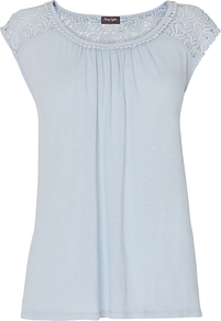 Colleen Crochet Top, Sky - neckline: round neck; sleeve style: capped; pattern: plain; shoulder detail: contrast pattern/fabric at shoulder; back detail: contrast pattern/fabric at back; bust detail: ruching/gathering/draping/layers/pintuck pleats at bust; predominant colour: pale blue; occasions: casual, work, holiday; length: standard; style: top; fibres: linen - mix; fit: straight cut; sleeve length: short sleeve; pattern type: fabric; texture group: jersey - stretchy/drapey; embellishment: lace