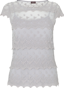 Maura Lace Top, Silver - neckline: round neck; sleeve style: capped; pattern: plain; predominant colour: mid grey; occasions: casual, evening, work; length: standard; style: top; fibres: cotton - mix; fit: straight cut; sleeve length: sleeveless; texture group: lace; pattern type: fabric; embellishment: embroidered