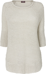 Sienna Jumper, Pale Stone - neckline: round neck; pattern: plain; length: below the bottom; style: standard; predominant colour: stone; occasions: casual; fibres: acrylic - mix; fit: standard fit; sleeve length: 3/4 length; sleeve style: standard; texture group: knits/crochet; pattern type: knitted - other