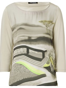 Print Top, Beige/Black - neckline: round neck; predominant colour: stone; occasions: casual; length: standard; style: top; fibres: cotton - 100%; fit: body skimming; sleeve length: 3/4 length; sleeve style: standard; pattern type: fabric; pattern size: standard; pattern: patterned/print; texture group: jersey - stretchy/drapey