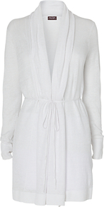 Natalia Longline Cardigan - pattern: plain; neckline: shawl; style: belted; predominant colour: white; occasions: casual; fibres: linen - 100%; fit: loose; length: mid thigh; waist detail: belted waist/tie at waist/drawstring; sleeve length: long sleeve; sleeve style: standard; texture group: knits/crochet; pattern type: knitted - fine stitch