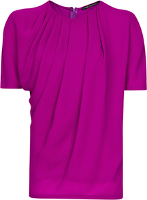 Pleated T Shirt, Purple - pattern: plain; waist detail: twist front waist detail/nipped in at waist on one side/soft pleats/draping/ruching/gathering waist detail; bust detail: ruching/gathering/draping/layers/pintuck pleats at bust; predominant colour: magenta; occasions: casual, work; length: standard; style: top; fibres: polyester/polyamide - 100%; fit: straight cut; neckline: crew; sleeve length: short sleeve; sleeve style: standard; texture group: silky - light; pattern type: fabric
