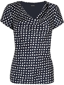 Cowl Neck Spot Blouse, Navy - neckline: cowl/draped neck; pattern: polka dot; bust detail: ruching/gathering/draping/layers/pintuck pleats at bust; secondary colour: white; predominant colour: navy; occasions: casual, work; length: standard; style: top; fibres: silk - mix; fit: body skimming; sleeve length: short sleeve; sleeve style: standard; texture group: silky - light; pattern type: fabric; pattern size: small & busy
