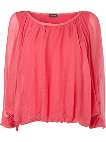 Devany Silk Blouse, Azalea - neckline: round neck; pattern: plain; style: blouse; bust detail: ruching/gathering/draping/layers/pintuck pleats at bust; predominant colour: coral; occasions: casual, holiday; length: standard; fibres: silk - 100%; fit: loose; sleeve length: 3/4 length; sleeve style: standard; texture group: sheer fabrics/chiffon/organza etc.; pattern type: fabric