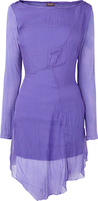 Calvina Silk Tunic, Iris - neckline: slash/boat neckline; pattern: plain; length: below the bottom; style: tunic; predominant colour: lilac; occasions: casual, evening; fibres: silk - 100%; fit: body skimming; sleeve length: long sleeve; sleeve style: standard; texture group: silky - light; pattern type: fabric