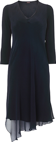 Mariella Cut Tunic, Navy - style: tunic; neckline: v-neck; pattern: plain; predominant colour: navy; occasions: casual, evening, occasion; length: on the knee; fit: body skimming; fibres: silk - mix; sleeve length: long sleeve; sleeve style: standard; texture group: silky - light; pattern type: fabric