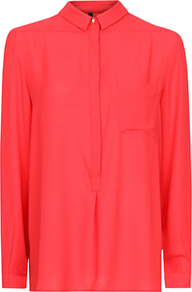 Sheer Loose Fit Blouse, Coral - neckline: shirt collar/peter pan/zip with opening; pattern: plain; style: blouse; predominant colour: coral; occasions: casual, work; length: standard; fibres: polyester/polyamide - 100%; fit: straight cut; sleeve length: long sleeve; sleeve style: standard; texture group: sheer fabrics/chiffon/organza etc.; pattern type: fabric