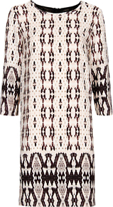 Tile Print Smock Dress, Nude - style: shift; predominant colour: nude; secondary colour: black; occasions: evening, occasion; length: just above the knee; fit: straight cut; fibres: polyester/polyamide - 100%; neckline: crew; back detail: crossover; sleeve length: 3/4 length; sleeve style: standard; pattern type: fabric; pattern size: big &amp; busy; pattern: patterned/print