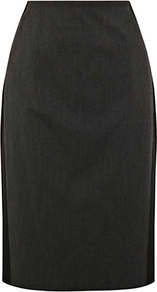 Panel Work Wear Skirt, Dark Grey - style: pencil; fit: tailored/fitted; waist: high rise; predominant colour: charcoal; occasions: work; length: just above the knee; fibres: polyester/polyamide - stretch; pattern type: fabric; pattern: colourblock; texture group: woven light midweight