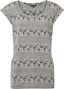 Floral Texture Stripe Tee, Light Grey - neckline: round neck; sleeve style: capped; pattern: horizontal stripes; length: below the bottom; style: t-shirt; predominant colour: light grey; occasions: casual; fibres: polyester/polyamide - mix; fit: body skimming; sleeve length: short sleeve; pattern type: fabric; pattern size: standard; texture group: jersey - stretchy/drapey