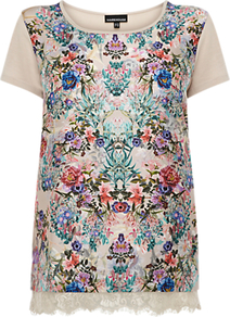 Floral Print Lace Hem Top, Multi - neckline: round neck; style: t-shirt; occasions: casual, evening, work, holiday; length: standard; fibres: polyester/polyamide - 100%; fit: straight cut; bust detail: contrast pattern/fabric/detail at bust; predominant colour: multicoloured; sleeve length: short sleeve; sleeve style: standard; texture group: lace; trends: statement prints; pattern type: fabric; pattern size: small & busy; pattern: patterned/print