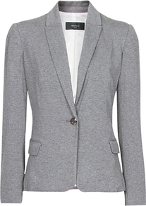 Jersey Blazer, Gunmetal Grey - pattern: plain; style: single breasted blazer; collar: standard lapel/rever collar; predominant colour: mid grey; occasions: casual, work; length: standard; fit: tailored/fitted; fibres: viscose/rayon - stretch; back detail: back vent/flap at back; sleeve length: long sleeve; sleeve style: standard; collar break: low/open; pattern type: fabric; texture group: jersey - stretchy/drapey