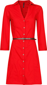 Shirt Dress, Red - style: shirt; length: mid thigh; neckline: shirt collar/peter pan/zip with opening; pattern: plain; waist detail: belted waist/tie at waist/drawstring; predominant colour: true red; occasions: evening, work; fit: body skimming; fibres: cotton - stretch; sleeve length: 3/4 length; sleeve style: standard; texture group: cotton feel fabrics; pattern type: fabric