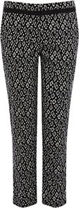 Diamond Print Trousers, Black - waist: mid/regular rise; secondary colour: white; predominant colour: black; occasions: casual, evening, occasion; length: ankle length; fibres: cotton - stretch; fit: slim leg; pattern type: fabric; pattern size: small &amp; busy; pattern: patterned/print; texture group: woven light midweight; style: standard