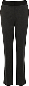 Panel Work Wear Trousers, Dark Grey - length: standard; pattern: plain; predominant colour: charcoal; occasions: work; fibres: polyester/polyamide - stretch; fit: straight leg; pattern type: fabric; texture group: woven light midweight; style: standard
