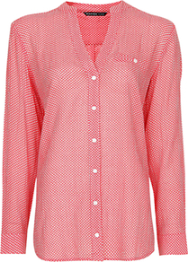 Printed Cotton Shirt, Coral - neckline: v-neck; length: below the bottom; style: shirt; predominant colour: coral; occasions: casual; fibres: cotton - 100%; fit: loose; sleeve length: long sleeve; sleeve style: standard; texture group: cotton feel fabrics; pattern type: fabric; pattern size: small &amp; busy; pattern: patterned/print
