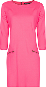 Zipper Jersey Dress, Geranuim - style: shift; length: mid thigh; neckline: round neck; fit: fitted at waist; pattern: plain; waist detail: fitted waist; hip detail: front pockets at hip; bust detail: ruching/gathering/draping/layers/pintuck pleats at bust; secondary colour: black; occasions: casual, evening, work, occasion, holiday; sleeve length: 3/4 length; sleeve style: standard; trends: glamorous day shifts; pattern type: fabric; texture group: jersey - stretchy/drapey; predominant colour: dusky pink; fibres: viscose/rayon - mix
