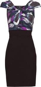 Printed Panel Dress, Purple - length: mid thigh; neckline: v-neck; fit: tight; sleeve style: sleeveless; style: bodycon; bust detail: knot twist front detail at bust; secondary colour: purple; predominant colour: black; occasions: evening; fibres: polyester/polyamide - stretch; shoulder detail: flat/draping pleats/ruching/gathering at shoulder; sleeve length: sleeveless; texture group: jersey - clingy; pattern type: fabric; pattern size: standard; pattern: patterned/print
