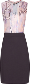 Mandarin Printed Dress, Multi - style: shift; fit: tailored/fitted; sleeve style: sleeveless; secondary colour: black; occasions: evening, work, occasion; length: just above the knee; fibres: viscose/rayon - stretch; neckline: crew; predominant colour: multicoloured; sleeve length: sleeveless; pattern type: fabric; pattern size: standard; pattern: animal print; texture group: other - light to midweight
