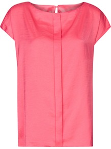 Pleated Loose Blouse - neckline: slash/boat neckline; sleeve style: capped; pattern: plain; style: blouse; predominant colour: coral; occasions: casual, evening, work; length: standard; fibres: polyester/polyamide - 100%; fit: loose; back detail: keyhole/peephole detail at back; sleeve length: short sleeve; texture group: silky - light; pattern type: fabric