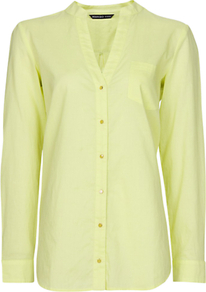 Cotton Blouse, Apple - neckline: v-neck; pattern: plain; style: blouse; bust detail: buttons at bust (in middle at breastbone)/zip detail at bust; predominant colour: primrose yellow; occasions: casual; length: standard; fibres: cotton - 100%; fit: tailored/fitted; sleeve length: long sleeve; sleeve style: standard; texture group: cotton feel fabrics; pattern type: fabric; pattern size: standard