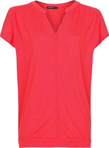 Gathered Detail Top, Coral - neckline: v-neck; pattern: plain; predominant colour: pink; occasions: casual; length: standard; style: top; fibres: viscose/rayon - 100%; fit: straight cut; sleeve length: short sleeve; sleeve style: standard; pattern type: fabric; pattern size: standard; texture group: jersey - stretchy/drapey