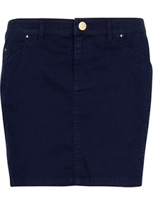 Cotton Mini Skirt, Navy - length: mini; pattern: plain; style: straight; waist: low rise; predominant colour: navy; occasions: casual, holiday; fibres: cotton - stretch; texture group: denim; fit: straight cut; pattern type: fabric